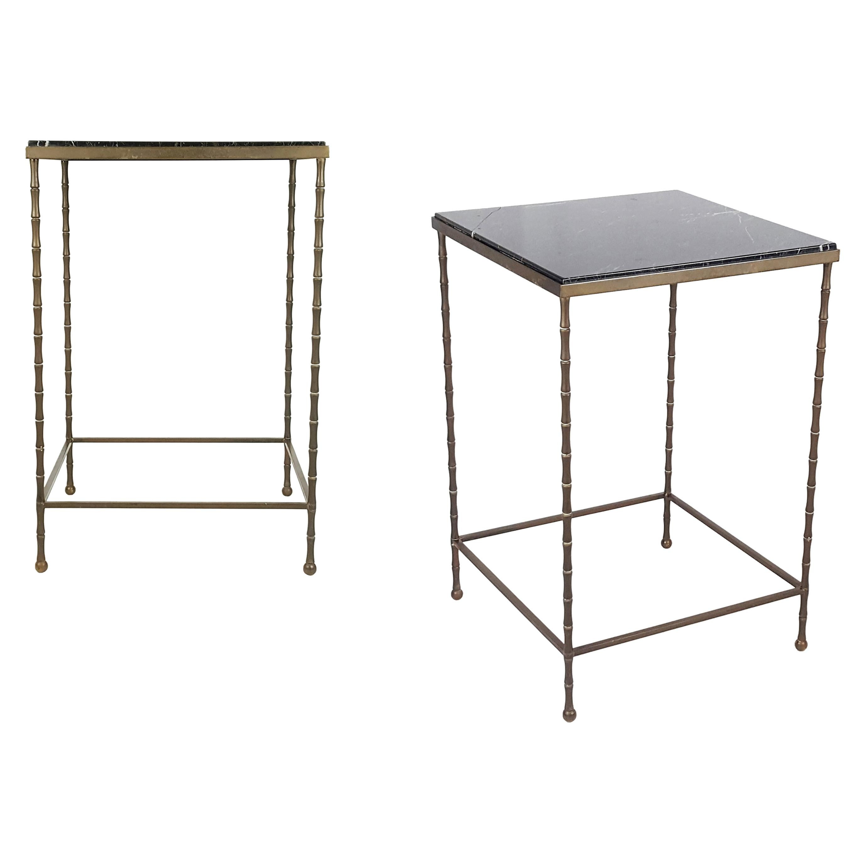 Pair of Black Marble Top & Brass Structure 1950s Side Low Tables or Nightstands