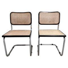 Pair of Black Marcel Breuer Cesca Chairs