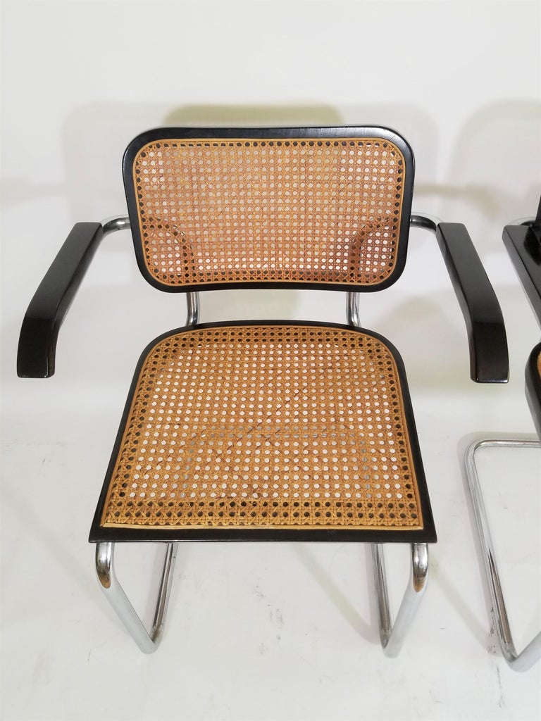 Pair of Black Marcel Breuer Cesca Chairs, Italy For Sale 3