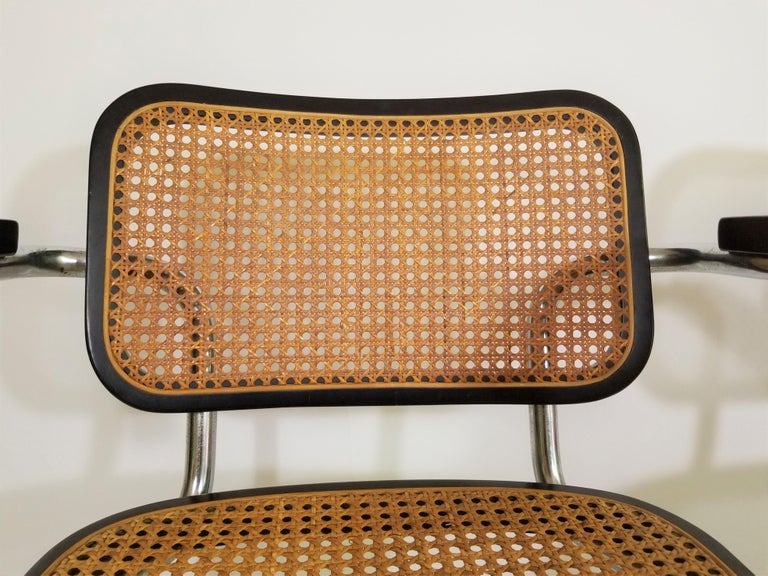 Pair of Black Marcel Breuer Cesca Chairs, Italy For Sale 4