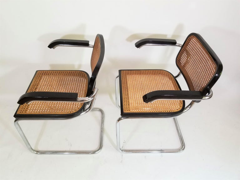 Italian Pair of Black Marcel Breuer Cesca Chairs, Italy For Sale