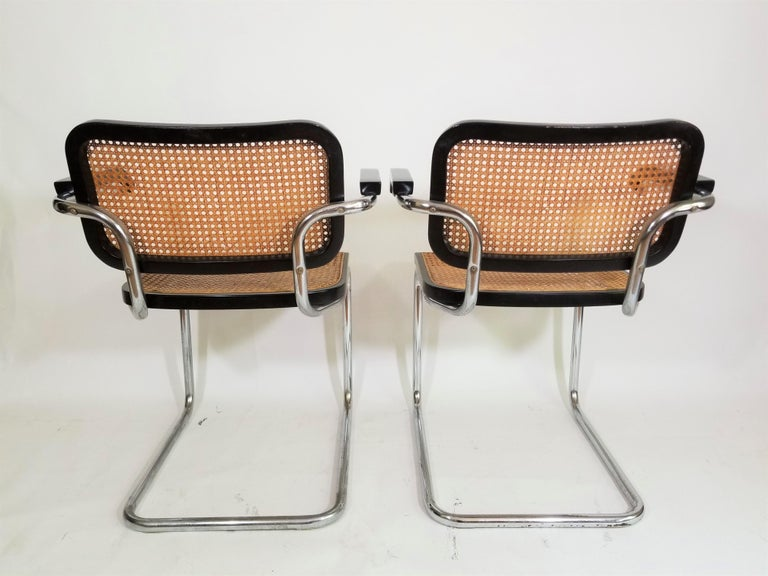 Pair of Black Marcel Breuer Cesca Chairs, Italy In Good Condition For Sale In New York, NY