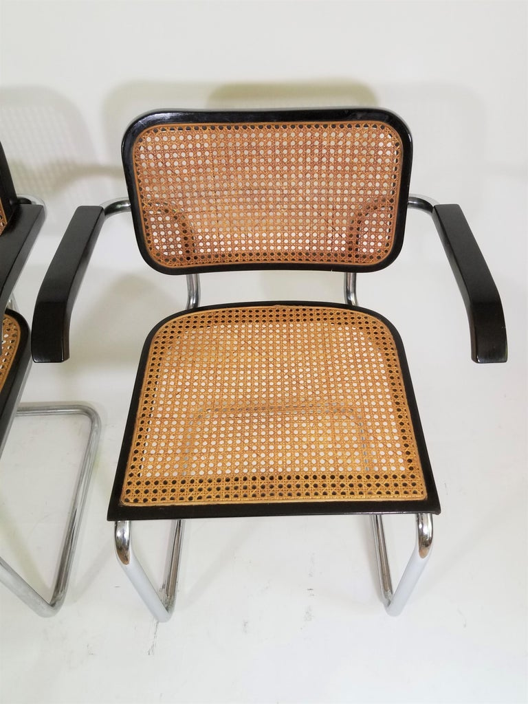 Cane Pair of Black Marcel Breuer Cesca Chairs, Italy For Sale