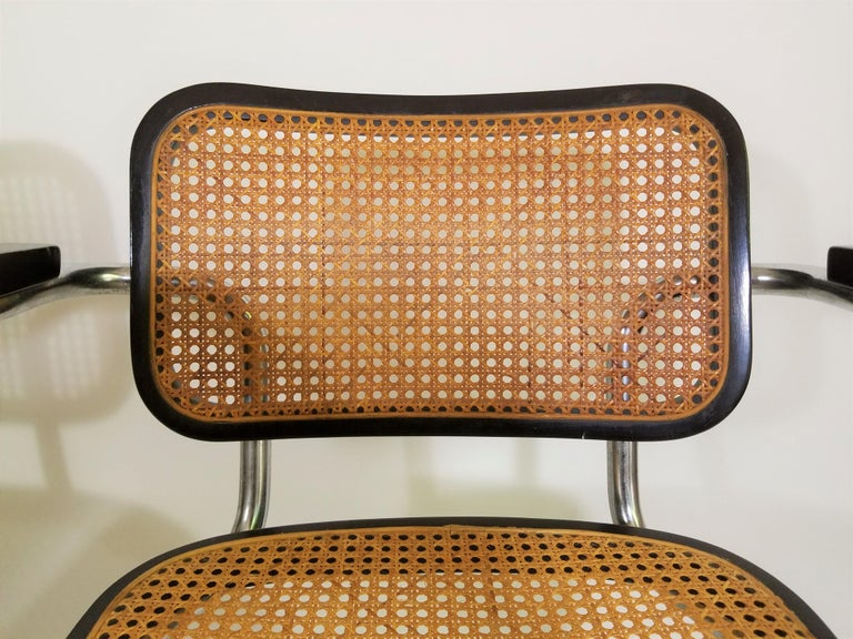 Pair of Black Marcel Breuer Cesca Chairs, Italy For Sale 1