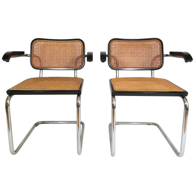 Pair of Black Marcel Breuer Cesca Chairs, Italy For Sale
