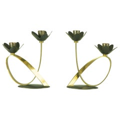 Pair of Black Metal and Brass 1960s Candlestick with Double Holders
