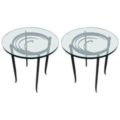 Pair of Black Metal Art Deco Side Tables with Glass Tops, 1940s