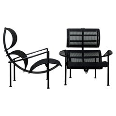 "Pair of Black Metal ""Signora Chan"" Armchairs by Carlo Forcolini, Alias, 1989"