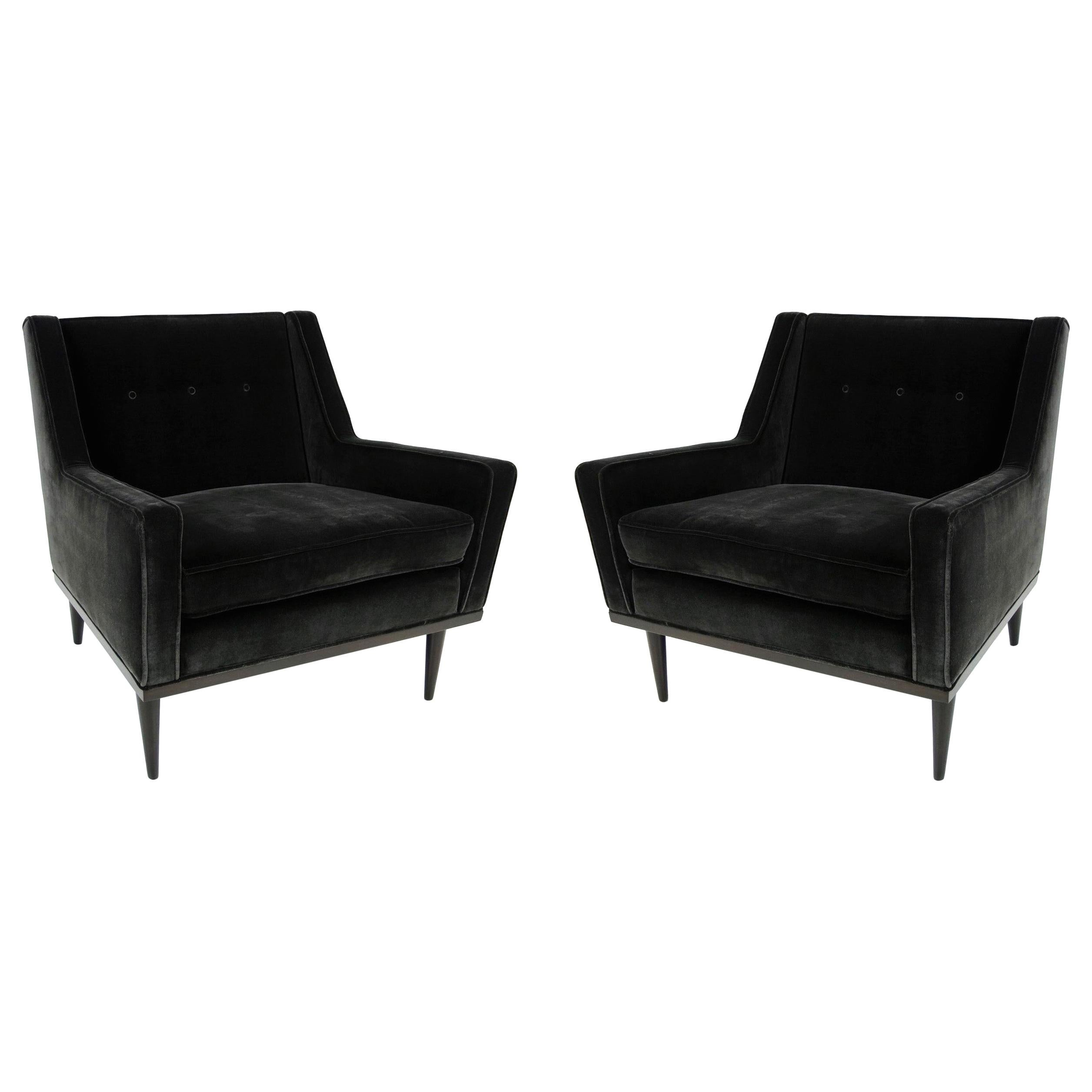 Pair of Black Milo Baughman for James Inc. Lounge Chairs