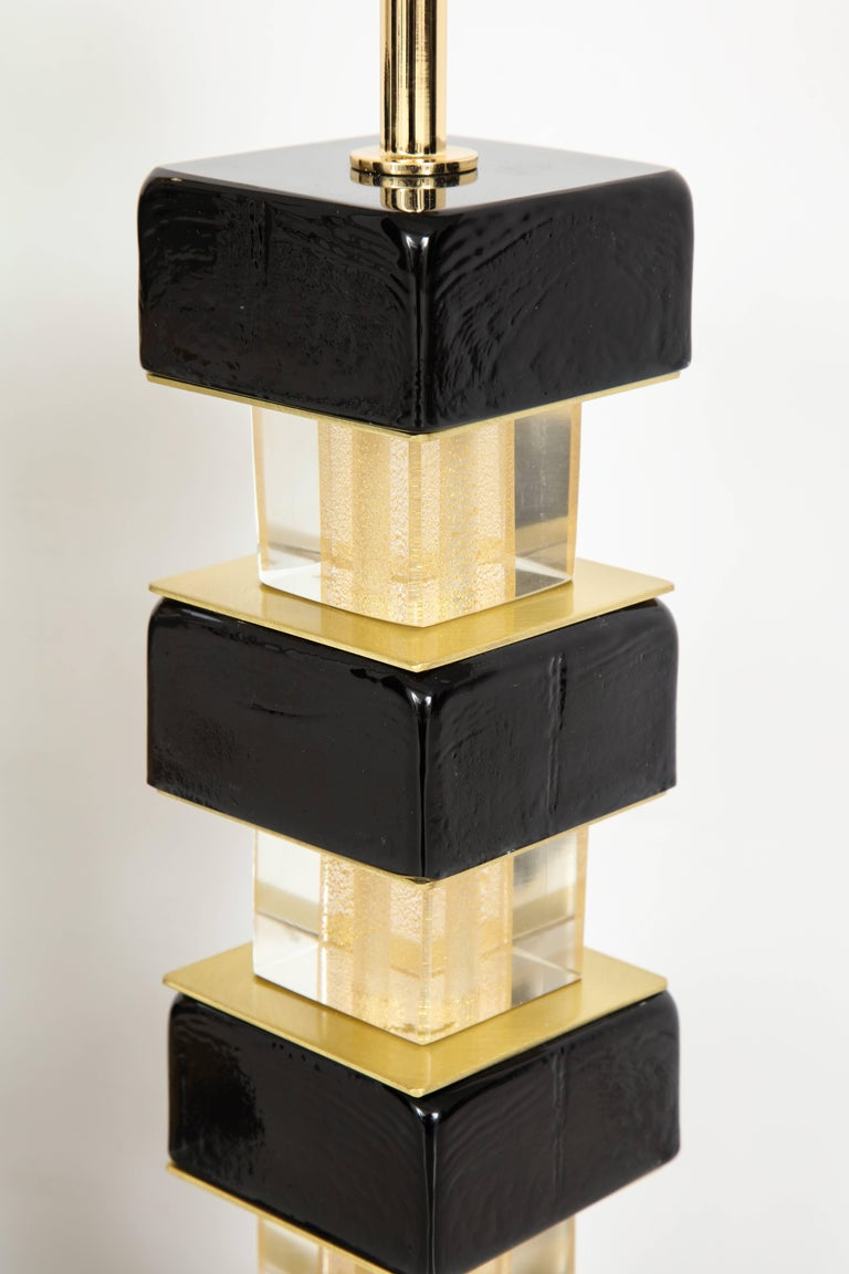 Pair of Black Murano Glass and Brass Lamps, Signed In Excellent Condition For Sale In New York, NY