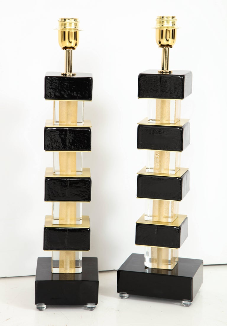 Pair of Black Murano Glass and Brass Lamps, Signed For Sale 4