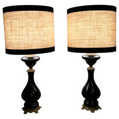 French Pair Of Black Opaline Glass Oil Lamps With Lampshade And Brass Decoration
