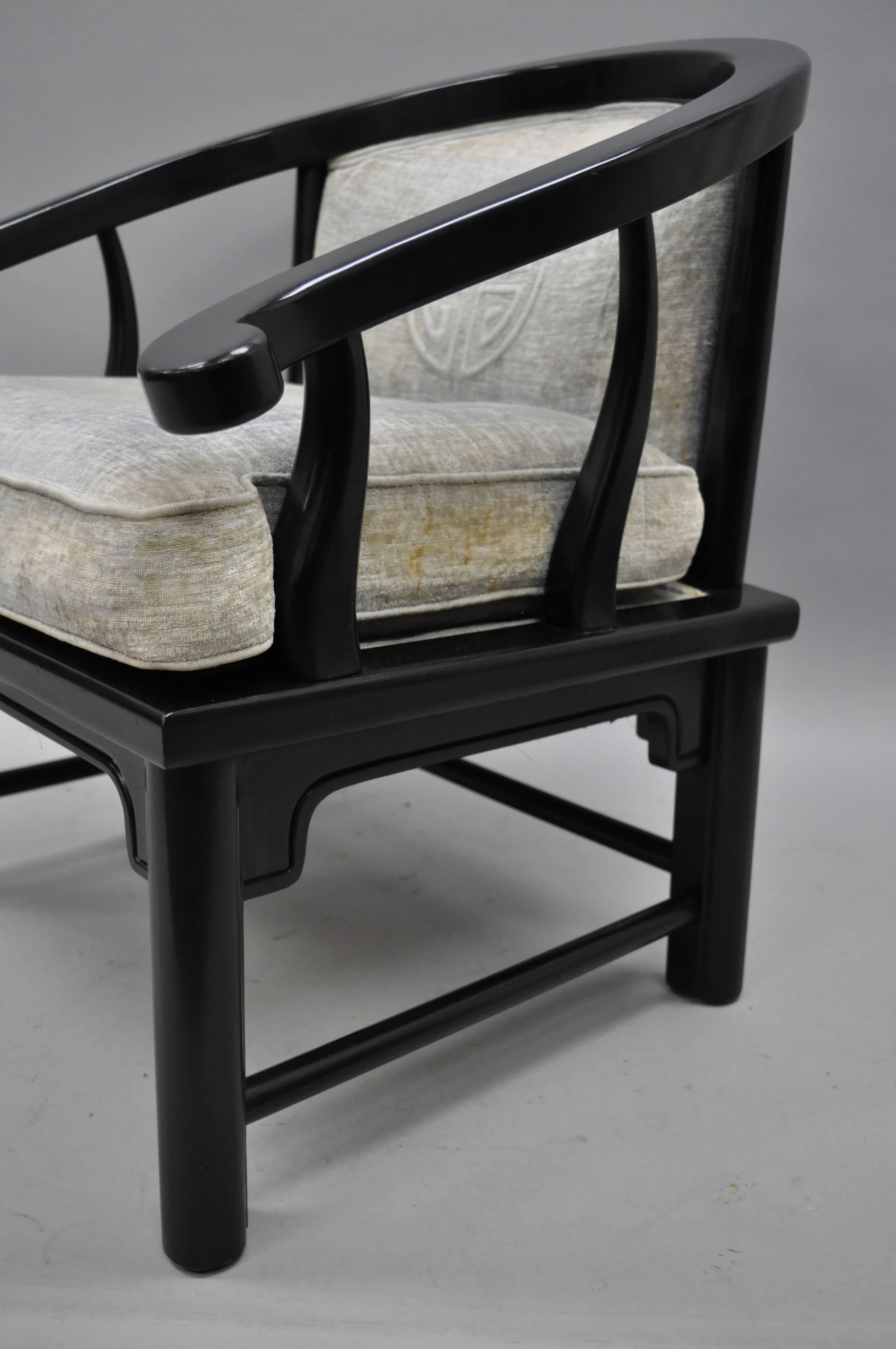 oriental outdoor furniture. Pair Of Black Oriental James Mont Style Horseshoe Asian Lounge Chairs By Century For Sale At 1stdibs Outdoor Furniture -
