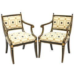 Pair of Black Painted and Parcel-Gilt Regency Style Armchairs