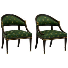 Pair of Black Painted Armchairs, in Gustavian Style