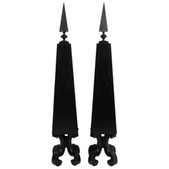 Pair of Black Painted Geometric Obelisks