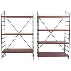 Pair of Black Painted Metal and Teak Shelves
