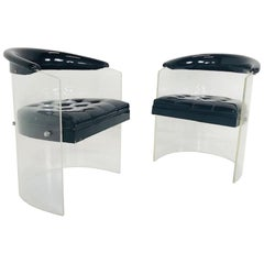 Pair of Black Patent Lucite Chairs