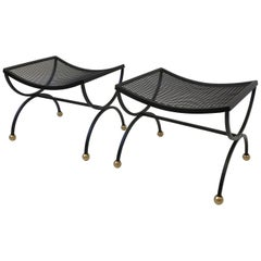 Pair of Black Powder Coated and Brass Ottomans by Salterini