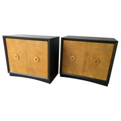 Pair of Black Refinished Wood Frame & Burl Wood Doors with Brass Pulls Cabinets