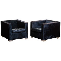 Pair of Black Rodolfo Dordoni for Minotti Lounge Chairs in Pony and Leather