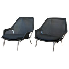 Pair of Black Slow Chairs by Ronan and Erwan Bouroullec for Vitra
