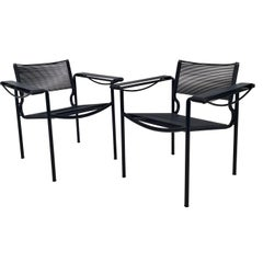 Pair of Black Spaghetti 109 Armchairs by G. Belotti for Alias, Italy, circa 1980