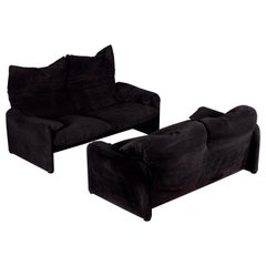 Pair of Black Suede 2-Seater Maralunga Sofas by Vico Magistretti for Cassina
