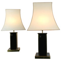 Pair of Black Table Lamps by Eric Maville for Maison Romeo, France, 1970s