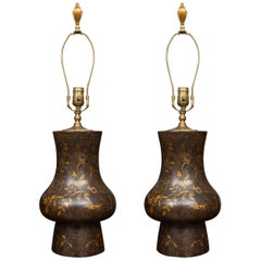 Pair of Black Table Lamps with Gilt Decoration