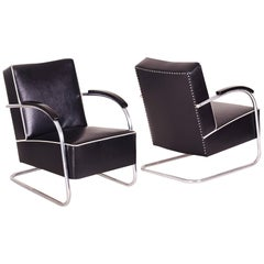 Pair of Black Tubular Steel Cantilever Armchairs, Chrome, New Upholstery, 1930s
