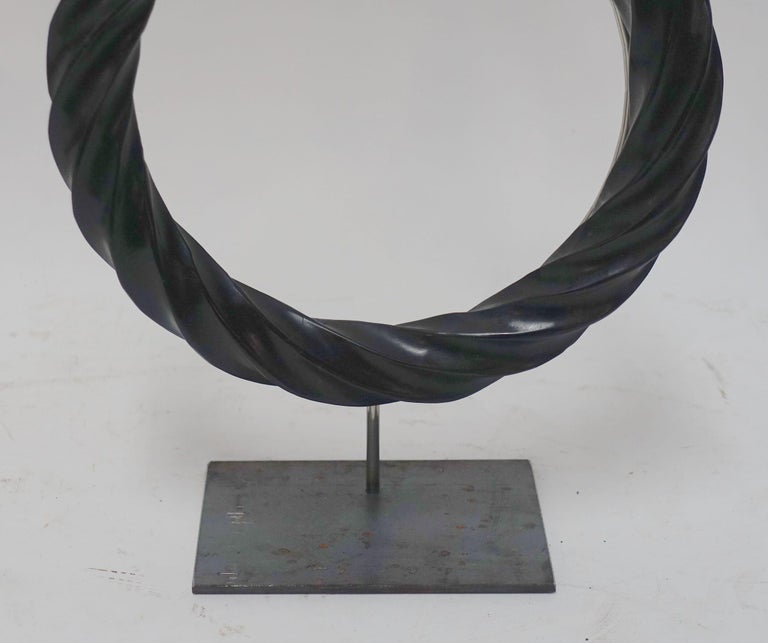 Pair of Black Twisted Marble Ring Sculptures on Stands, China, Contemporary For Sale 1