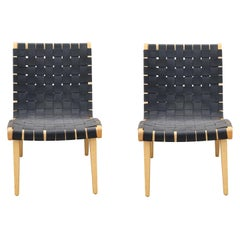 Pair of Black Weaved Strapped Jens Risom Lounge Chairs for Knoll