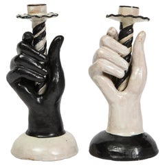 Pair of Black and White Italian Faience Hand Candlesticks, circa 1940s