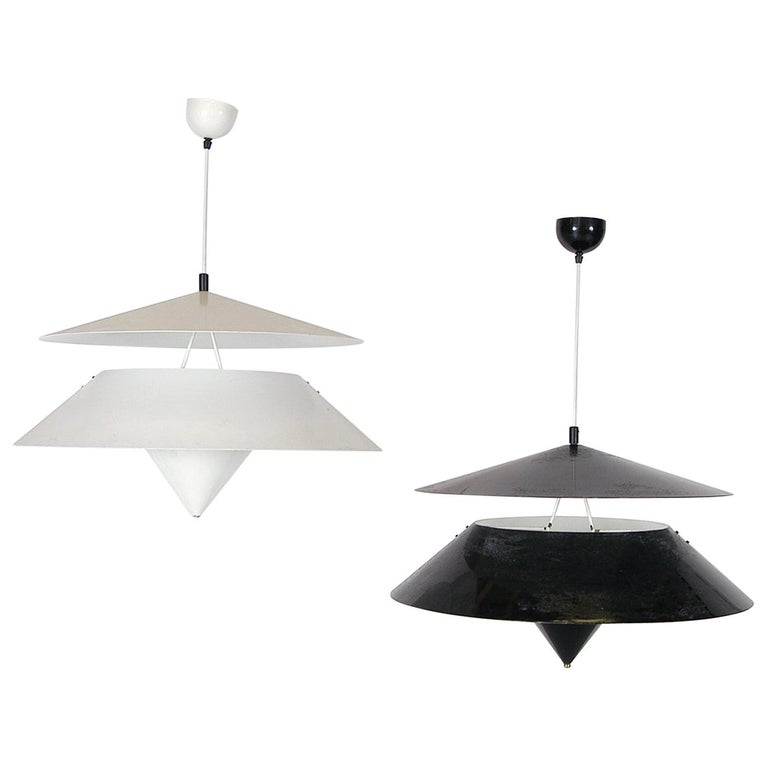 Pair of Black White Italian 'Kalaari' Ceiling Pendants Vico Magistretti Oluce For Sale
