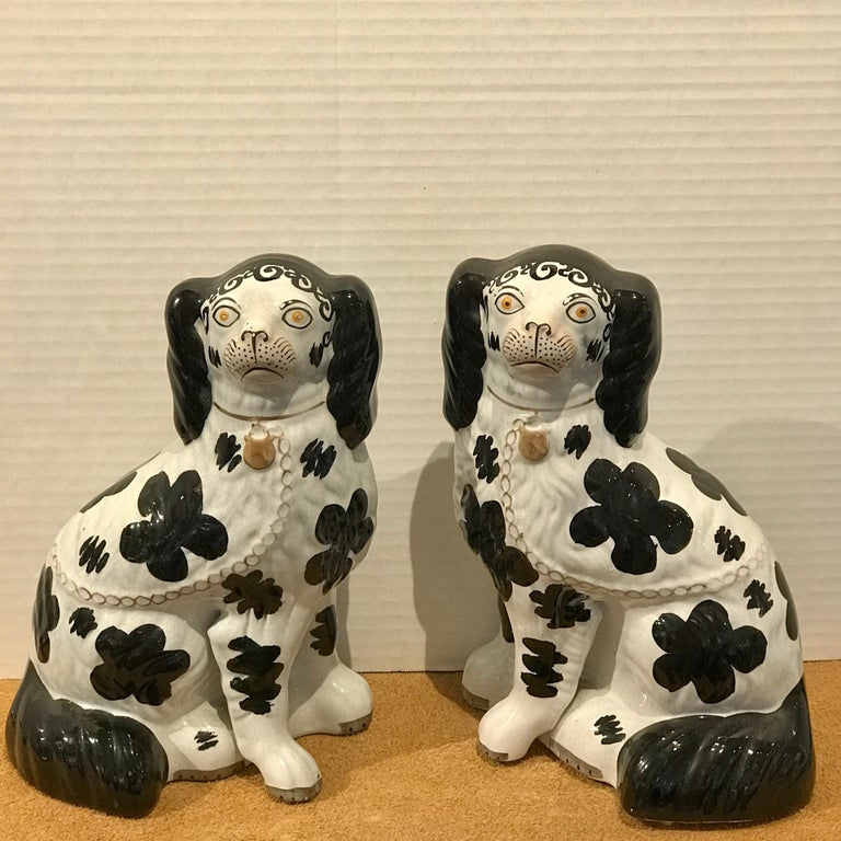 Pair of black and white Staffordshire Disraeli spaniels #H2490