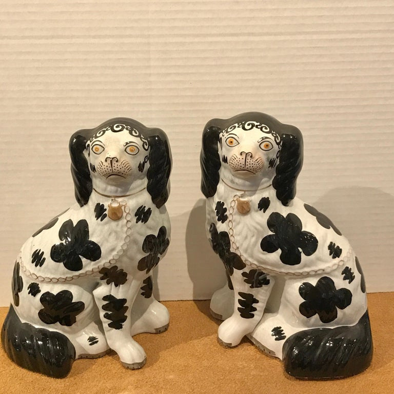 High Victorian Pair of Black & White Staffordshire Disraeli Spaniels # H2490 For Sale