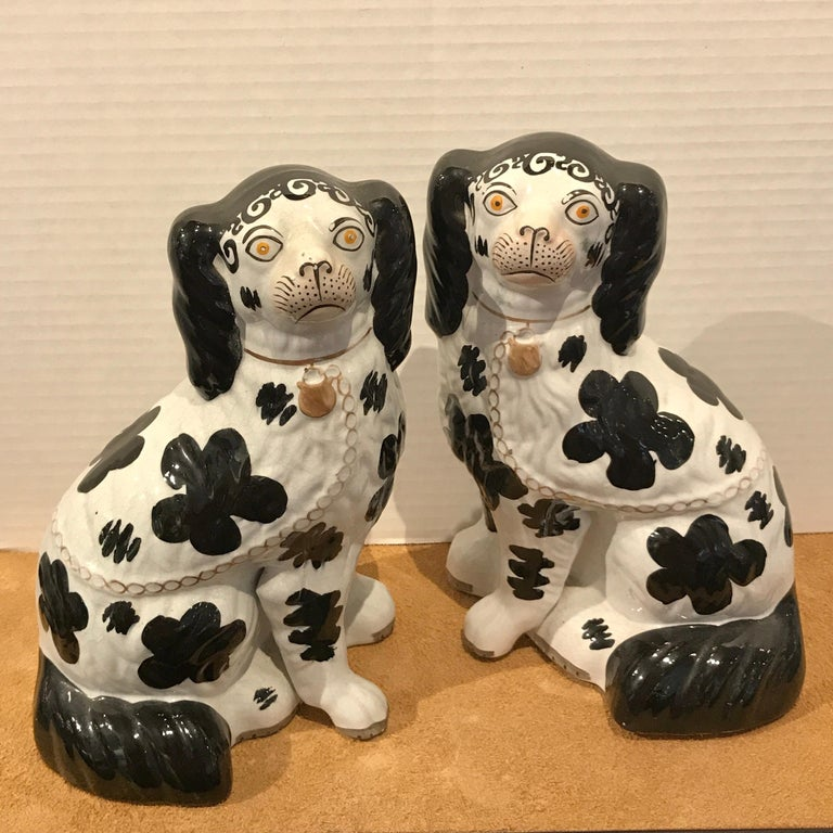 Late 19th Century Pair of Black & White Staffordshire Disraeli Spaniels # H2490 For Sale