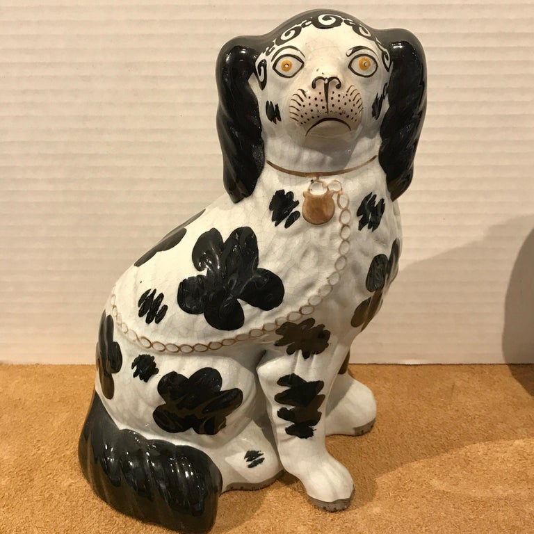 Pottery Pair of Black & White Staffordshire Disraeli Spaniels # H2490 For Sale