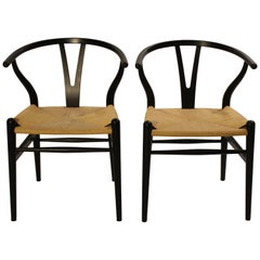Pair of Black Wishbone Chairs, Y-Chair, Model CH24, Hans J. Wegner, 2008