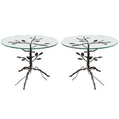 Pair of Black Wrought Iron End Tables