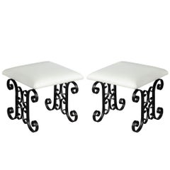 Pair of Black Wrought Iron Leather Stools