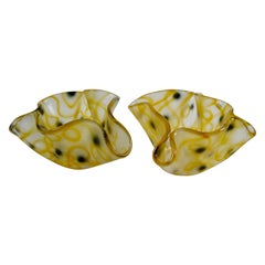 Pair of Black & Yellow Glass Handkerchief Vases by Ulrica Hydman-Vallien