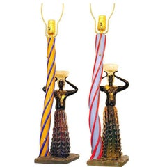 Pair of Blackamoor Murano Table Lamps