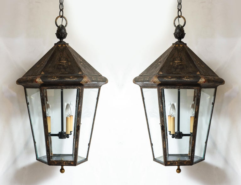 Pair of blackened British lanterns comes with 3ft of chain.