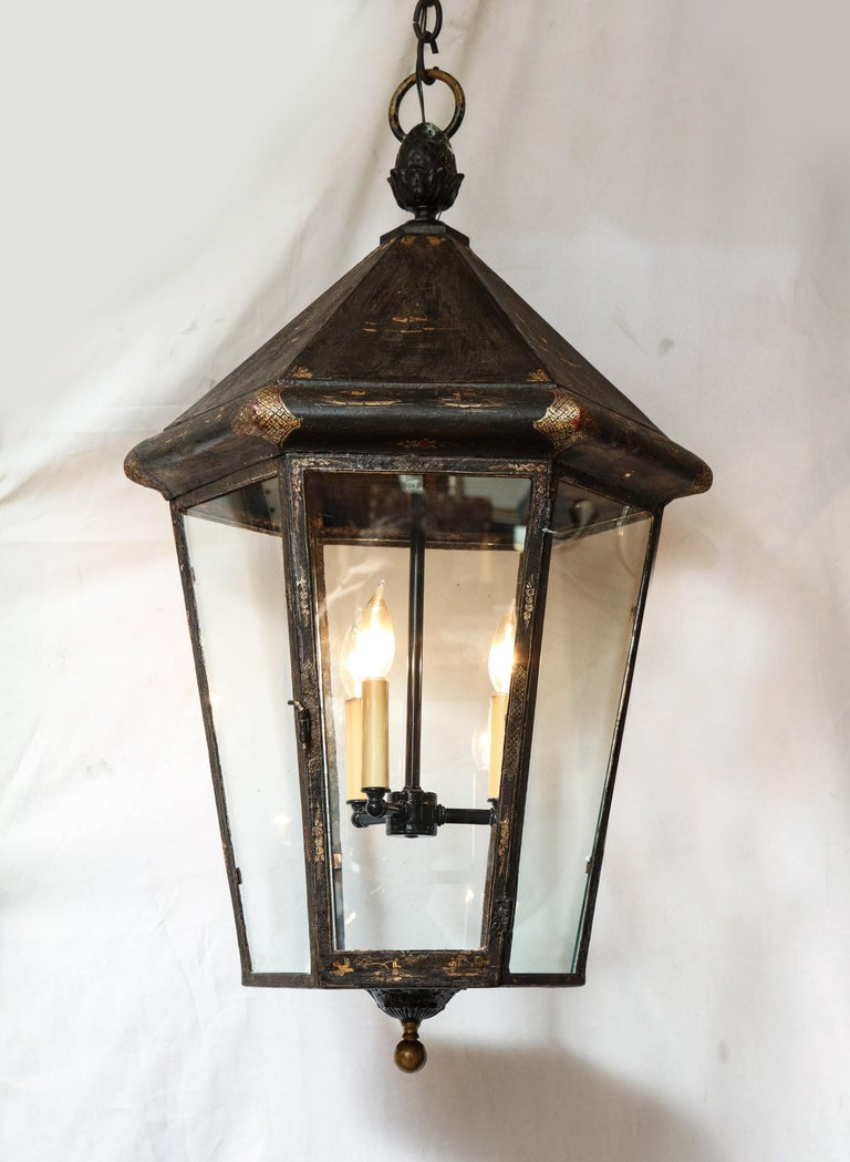 Pair of Blackened British Lanterns In Good Condition For Sale In New York, NY