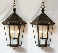Pair of Blackened British Lanterns