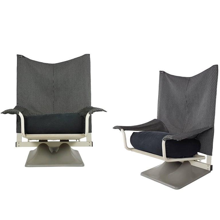Pair of Black & White Fabric AEO Armchairs, Paolo Deganello, Archizoom Associati