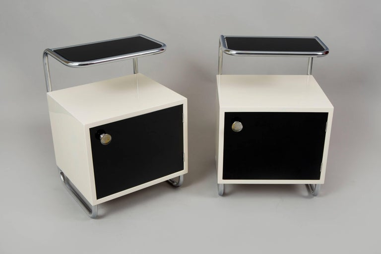 Pair of Art Deco bed-side tables from Czech Republic.