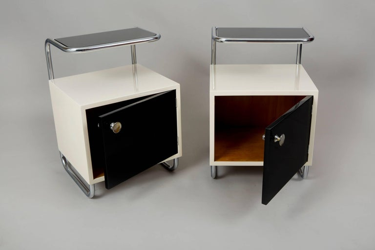 Art Deco Pair of Black & White Functionalism Bed-Side Tables, Maker Vichr, Czechoslovakia For Sale